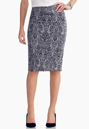 Graphic Scroll Midi Skirt