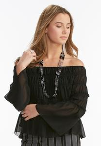 Tiered Smock Off the Shoulder Top