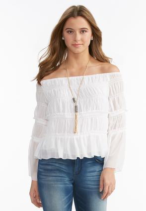 Tiered Smock Off the Shoulder Top-Plus Shirts & Blouses | Cato ...