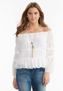 Tiered Smock Off the Shoulder Top-Plus