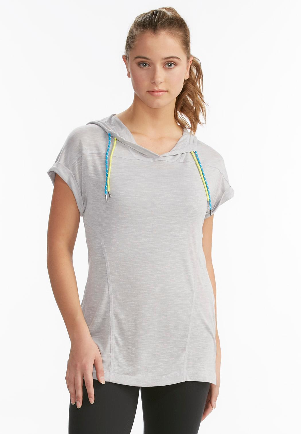 Ruched Athleisure Tunic Hoodie Tops Cato Fashions