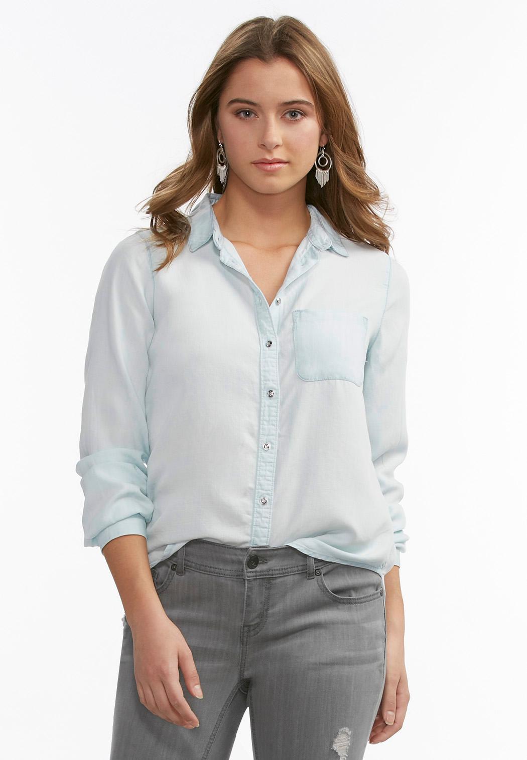 Chambray Button Down Shirt Plus Shirts Cato Fashions
