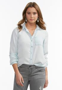 Chambray Button Down Shirt-Plus