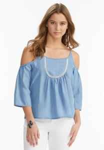 Ladder Bib Cold Shoulder Chambray Top-Plus