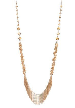 Bead And Chain Fringe Necklace