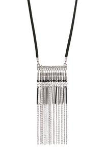 Beaded Chain Fringe Cord Necklace