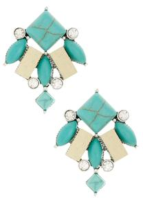 Turquoise and Wood Bead Button Earrings