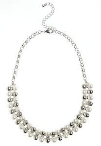 Beaded Pearl Threaded Collar Necklace