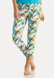Abstract Chevron Performance Crop Leggings