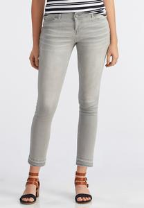 Release Hem Gray Wash Skinny Ankle Jeans