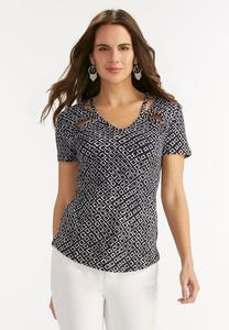 Geometric Ink Cutout Neck Top