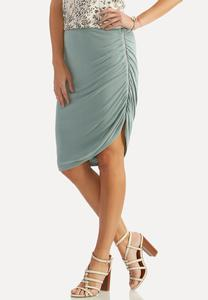 Ruched Zipper Asymmetrical Skirt