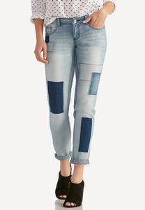 Patchwork Ankle Girlfriend Jeans