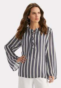 Vertical Striped Lace Up Neck Top-Plus