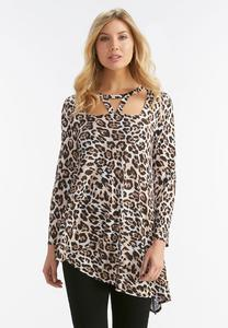 Animal Print Cutout Top-Plus