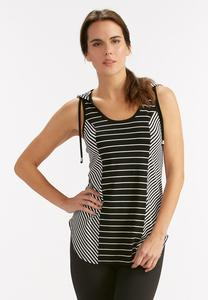 Contrast Striped Hooded Tank-Plus