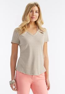 Striped Cutout Neck Top-Plus