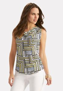 Printed Cowl Neck Cutout Top