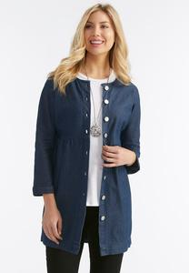 Denim Pinstriped Babydoll Jacket-Plus