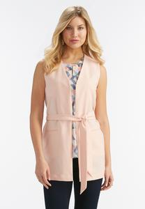 Belted Trench Vest- Plus