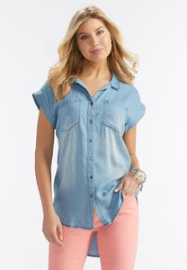 High-Low Chambray Button Down Shirt