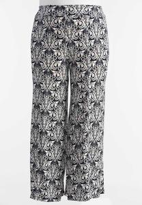 Baroque Print Extreme Wide Palazzo Pants-Plus