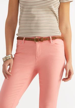 Studded Grommet Skinny Belt- Plus