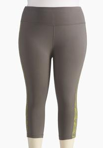 Perforated Panel Performance Crop Leggings-Plus