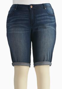 Cuffed Bermuda Jean Shorts-Plus