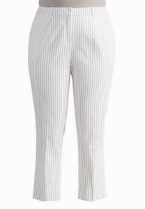 Pinstriped Ankle Pants-Plus