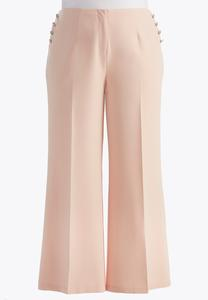 Sailor Button Wide Leg Pants-Plus