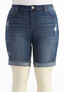Distressed Bermuda Jean Shorts-Plus