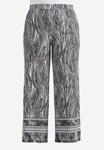 Bordered Abstract Palm Palazzo Pants-Plus