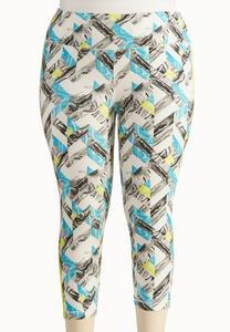 Abstract Chevron Performance Crop Leggings-Plus