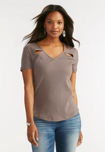Cutout Neck Ribbed Tee-Plus