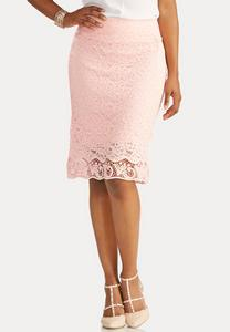 Crochet Hem Above the Knee Skirt