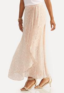 Scroll Damask Wrap Maxi Skirt-Plus