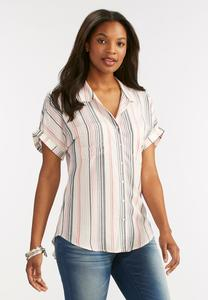 Vertical Striped High-Low Shirt-Plus