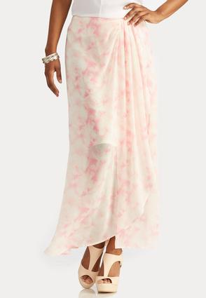 Abstract Watercolor Wrap Maxi Skirt