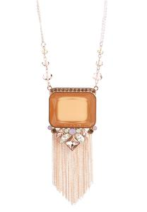 Rose Gold Tasseled Pendant Necklace