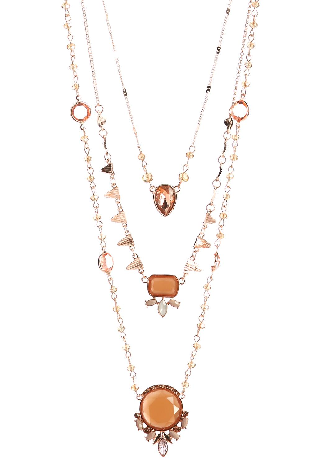 delicate layered rose gold jewel necklace long cato fashions