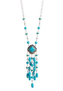 Tasseled Semi-Precious Pendant Necklace