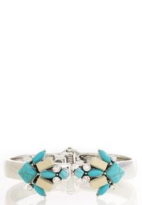Turquoise and Wood Cuff Bracelet