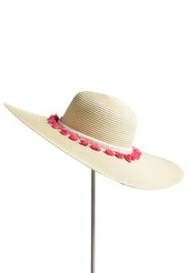 Braided Tassel Trim Floppy Hat