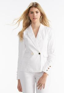 Double Breasted Sateen Blazer-Plus