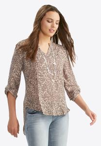 Cheetah Whirl Popover Top-Plus