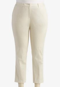 Abstract Cobblestone Sateen Ankle Pants-Plus