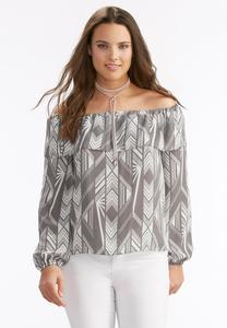 Runway Striped Ruffled Off the Shoulder Top-Plus