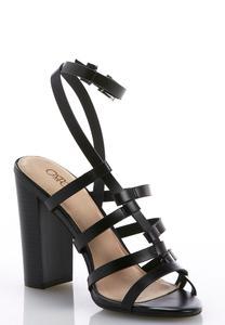 Interlocked Asymmetrical Strap Heeled Sandals