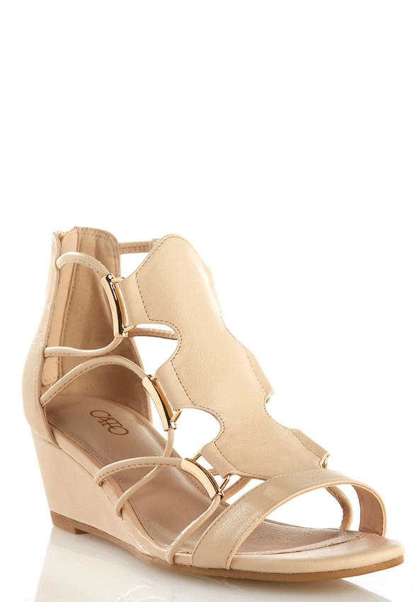 Wide Width Corded Gladiator Wedge Sandals Wedges | Cato ...